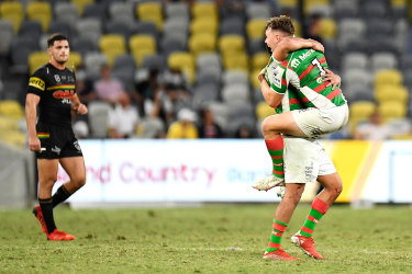 South Sydney's Blake Taaffe and Cody Walker celebrate victory over the Panthers.