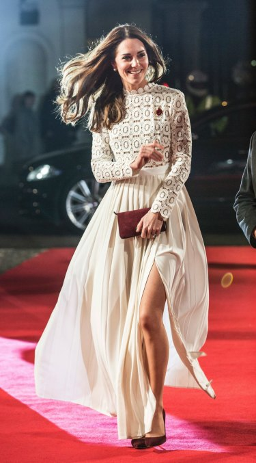 The Duchess of Cambridge wearing a Self Portrait dress to an event in London last November.