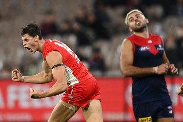 Callum Sinclair celebrates during the tough loss to Melbourne.