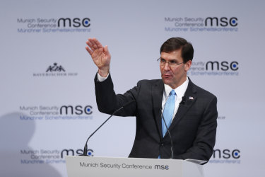 Mark Esper speaks during the conference in Munich.