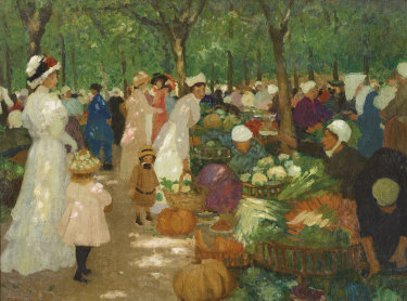 Ethel Carrick Fox's Market, Under Trees.
