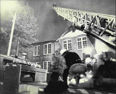 Fire at Parramatta High School on the night of June 26, 1982.