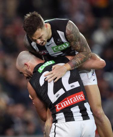 Got your back: Jamie Elliott's return pleased his teammates.