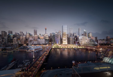 An artist's impression of the Cockle Bay redevelopment, which features a 183-metre office tower, retail precinct and park.