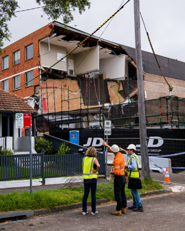 Part of a four-storey building in Crows Nest collapsed on Monday.