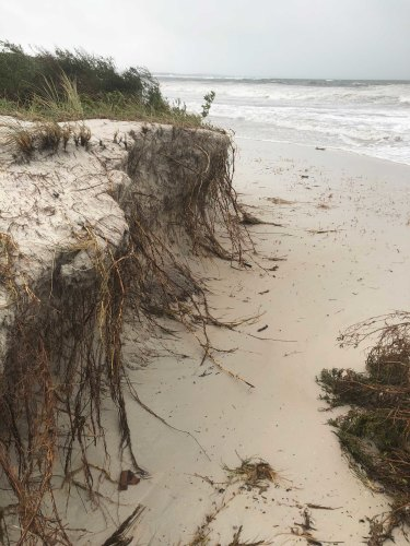 Beach erosion at Callala Beach near Jervis Bay. The main beach faces south from where the big waves rolled in.