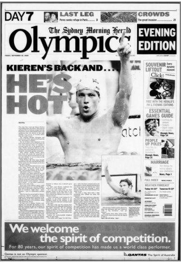 How the Herald reported Kieren Perkins' red-hot 1500m heat on September 22, 2000.