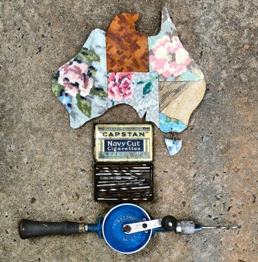 Liz Jones presents her father's drill and drill bits, along with her map of Australia made from vintage linoleum in The Meaning of Things.