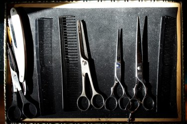 Tools required for at home barbering.