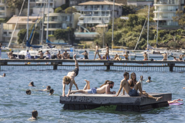 Sydneysiders flocked to watering holes like Murray Rose Pool on Saturday to enjoy temperatures well above average.