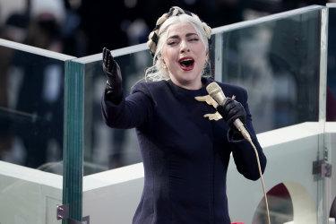 Lady Gaga performs at the inauguration.