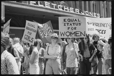 Protesters at Sydney's International Women's Day march in 1975.