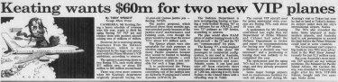 Tony Wright's front-page story on Paul Keating's jet plans in <i>The Sydney Morning Herald</i>, June 16, 1993.