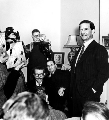 Master spy Harold 'Kim' Philby at his mother's home with the British press.