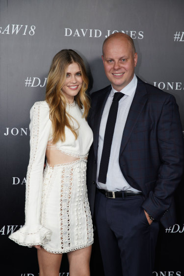 A photo of David Jones ambassador Victoria Lee and CEO David Thomas that was incorrectly filed as 'Jesinta Campbell' by photo agency AAP.
