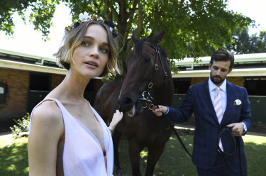 Longines Golden Slipper ambassadors Rosie Tupper and her husband Sam Margin with the horse Snippetsland at Snowden Racing stables in Randwick.