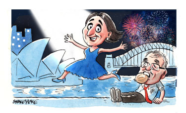 Premier Gladys Berejiklian's election win set off a round of celebrations on Saturday and Sunday. Illustration: John Shakespeare