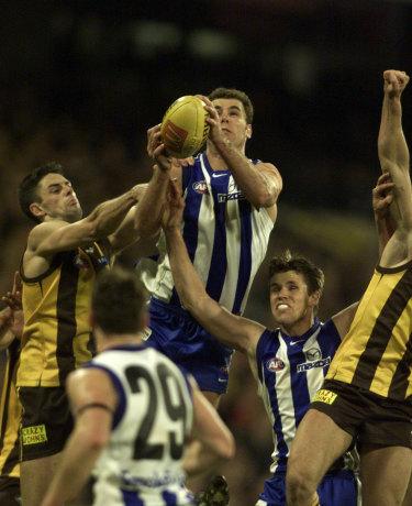 Wayne Carey flies high during his playing days.
