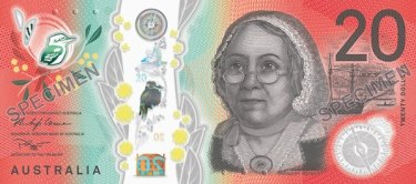 Mary Reibey on an RBA sample of the new banknote.