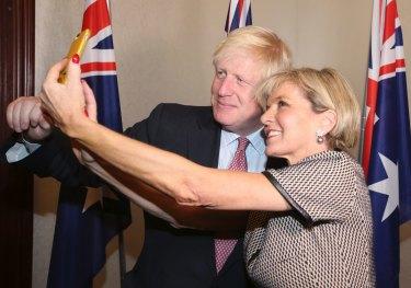 Former British foreign secretary Boris Johnson with Julie Bishop.