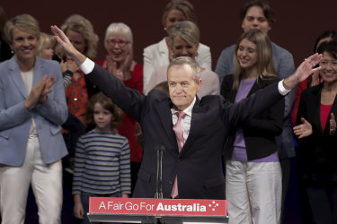 Labor leader Bill Shorten at a campaign rally in Melbourne.