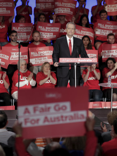 Labor leader Bill Shorten at the first major rally of the federal election campaign.