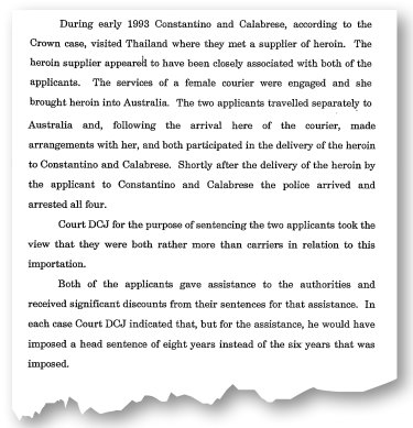 Details from the NSW Court of Criminal Appeal dismissing the applicants' appeal. Sam Calabrese's matter was later dismissed.