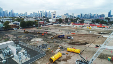 Work has begun at the site of the new underground station in North Melbourne.