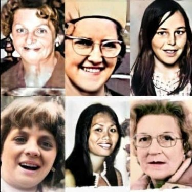 The unsolved Tynong North and Frankston murder victims (clockwise from top left)  Allison Rooke, Bertha Miller, Catherine Headland, Joy Summers, Narumol Stephenson and Ann-Marie Sargent.