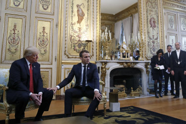 "Macron placed his hand on Trump's knee and referred to him as ""my friend""."