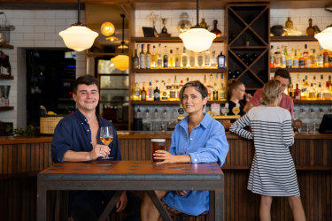 Matt Johnson and Shirin Keeble enjoy a drink at the Forresters in Surry Hills.