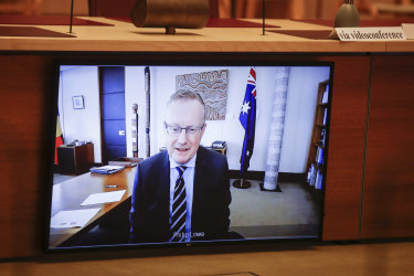 RBA governor Philip Lowe at a recent Senate hearing. The governor may not be heading the bank when it finally has inflation in its target band of 2-3 per cent.