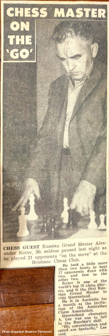 News clipping of Russian chess Grand Champion Alexander Kotov in Brisbane in 1963.