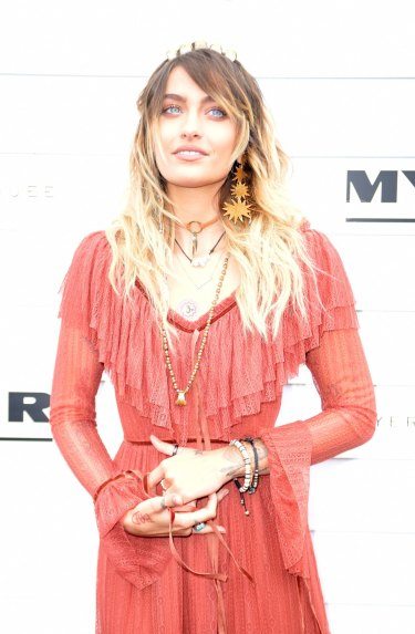 Outfit change ... Paris Jackson arrives at the Myer marquee wearing Morrison.