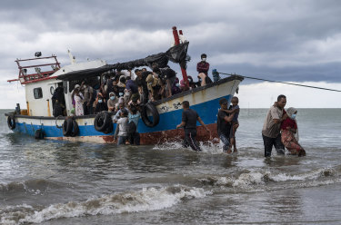 Indonesian fishermen discovered dozens of hungry, weak Rohingya Muslims on the wooden boat adrift off North Aceh, an official said.