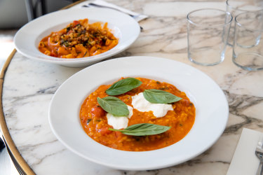 Risotto with saffron, semi-dried tomatoes, stracciatella and basil and maccheroni with cherry tomatoes and parmesan and rosemary pan grattato.