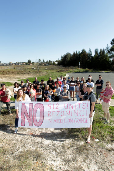 Middleton Grange residents opposed Manta's proposed development for 900 units to be built in the immediate area.