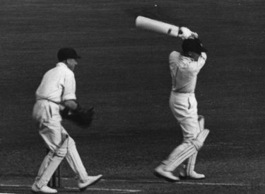 Bradman carving up the English attack in 1936.
