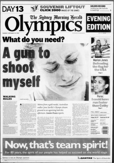 How the Herald reported Jane Saville's disqualification on September 28, 2000.
