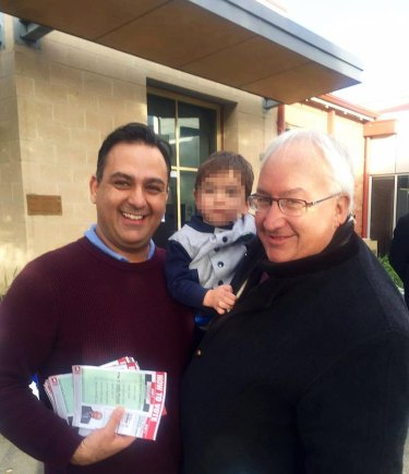 George Droutsas with Michael Danby and a stack of how-to-vote cards.