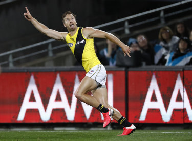 Kane Lambert boots a big goal against Port Adelaide.