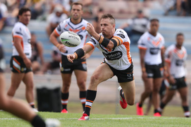 Josh Reynolds in action during the trial win over thje Warriors in Rotorua on Sunday.