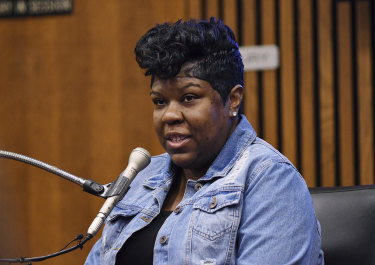 Monique Grimes, mother of deceased Damon Grimes, testifies during the trial.