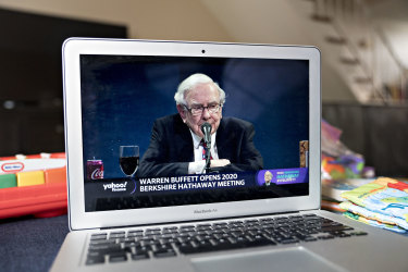 Warren Buffett speaking during the virtual Berkshire Hathaway annual shareholders meeting at the weekend.