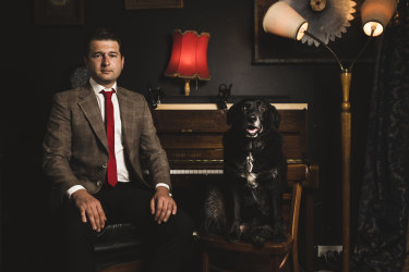 Former Sex Party candidate Steven Bailey, with his dog Bruce.