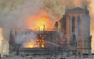 The fire destroyed Notre Dame's spire and its roof but spared its twin medieval bell towers.