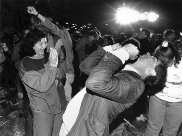 Crowd celebrates at Homebush Bay this morning after the announcement,  24 September 1993.