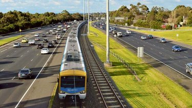 A mock-up of a rail line down the centre of the Eastern Freeway.