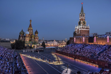 A military orchestra festival last month in Red Square in Moscow. The collapse of the Soviet Union unleashed a drive for personal enrichment.