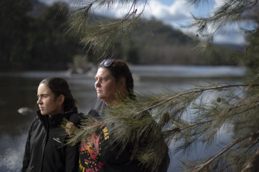 Gundungurra Traditional Owners Kazan Brown (right) and her daughter Taylor Clarke, on land that will be inundated by floodwaters if the Warragamba Dam Wall is raised.